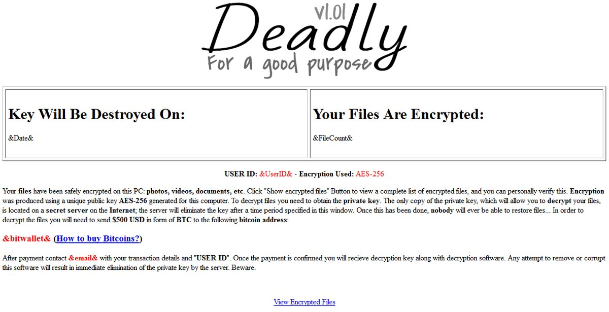 Deadly for a Good Purpose ransomware ransom note